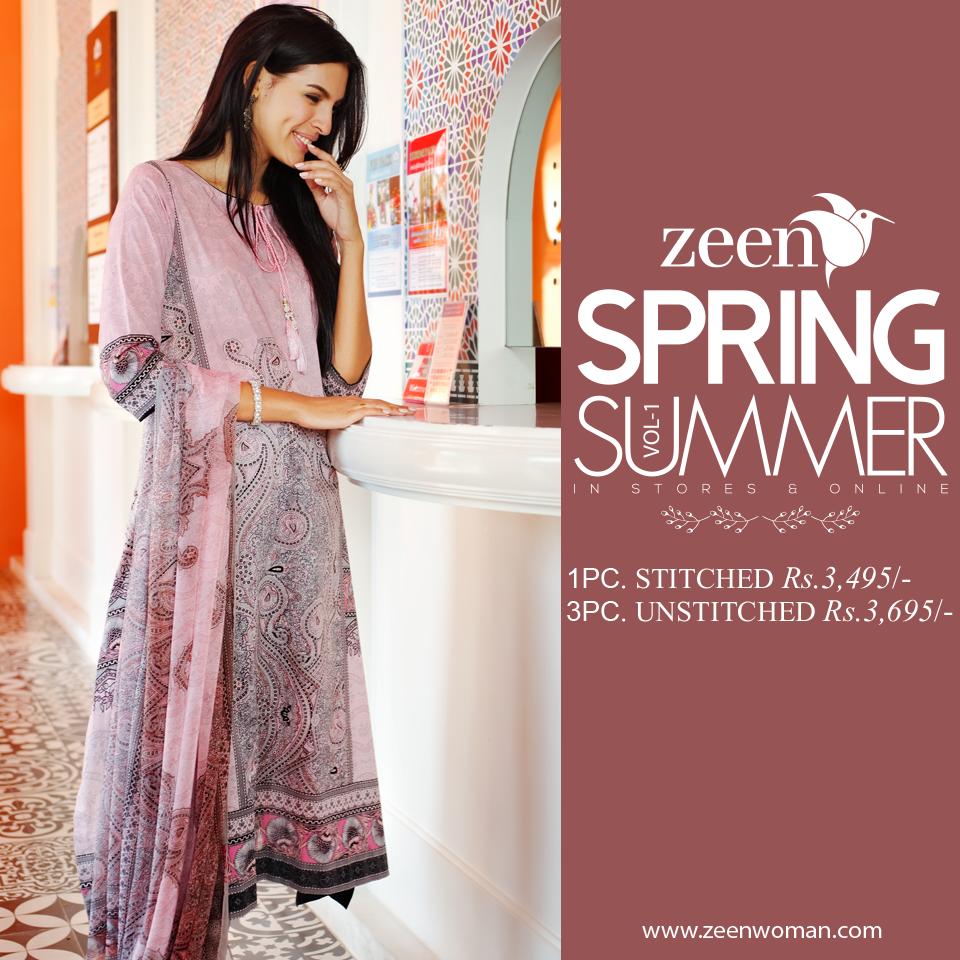 Zeen Spring/Summer 2015 | Beautiful bohemian print available with nicely composed chiffon dupatta.  Shop Stitched: http://goo.gl/nDBMyF Shop Unstitched: http://goo.gl/7uP3Cz  #Thinkspring‬ #Spring‬ #LawnDress #ZEEN #fashion #Style