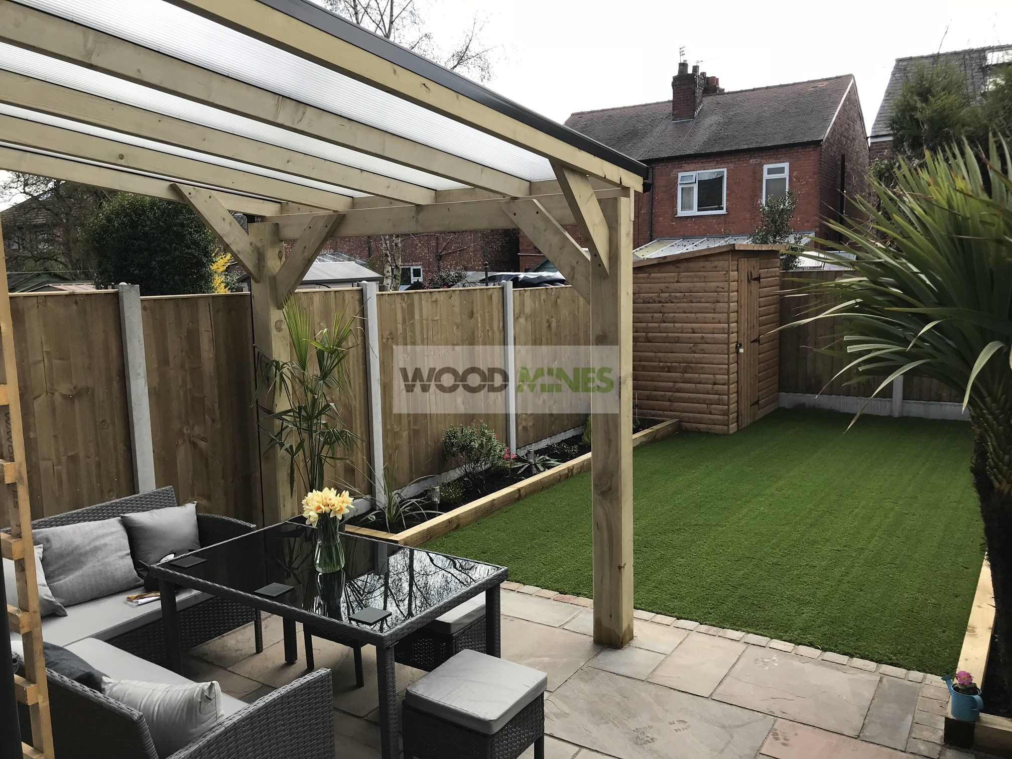 Lean to pergola with ogee ends, multiwall polycarbonate ... on Patio Lean To Ideas id=34610