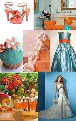 possible wedding colors... love the turquoise & coral for the beach