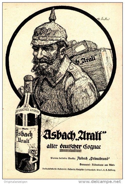 Original-Werbung/ Anzeige 1917 - 1/1 SEITE - ASBACH URALT / MOTIV SOLDAT - ca. 180 x 260 mm