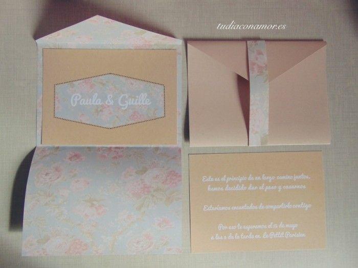Conjunto papelería sobre e invitación flores 6 #Invitaciones de boda diferentes y con encanto de www.tudiaconamor.es