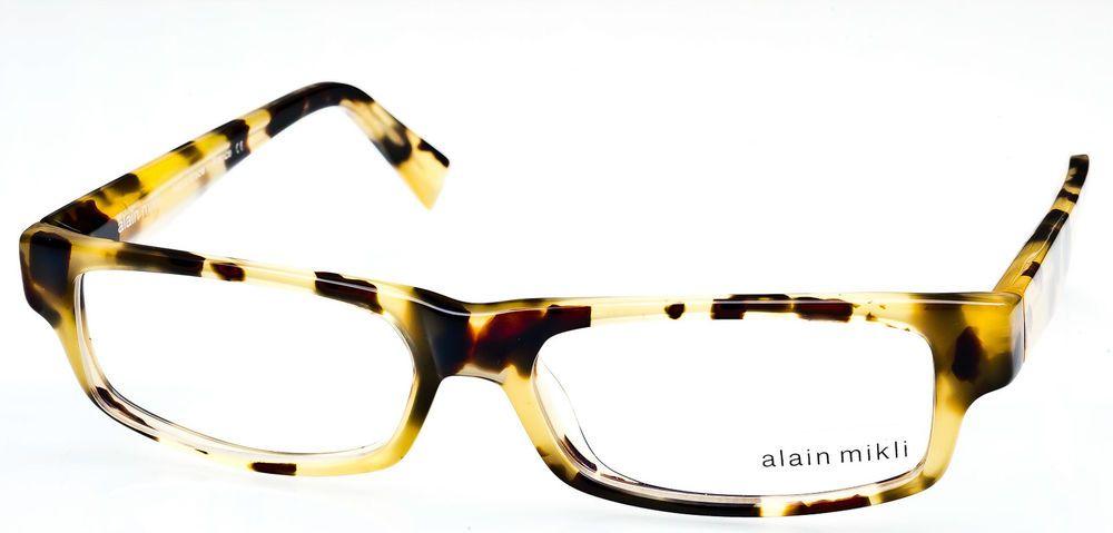 authentic alain mikli eyeglass frame yellow tortoise france al1154 0808 52mm - Yellow Eyeglass Frames