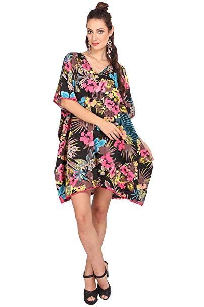 14ac59b6aa21 Miss Lavish Women s Kaftan Tunic Kimono Dress Summer Evening Plus Size  Beach Cover up 10-