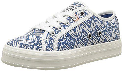 Pepe Jeans Zapatos de Cordones de Lona Para Mujer, Color Azul, Talla 36 EU