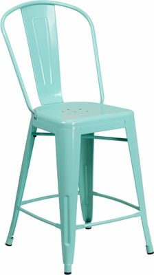 24 High Mint Green Metal Indoor Outdoor Counter Height Stool With