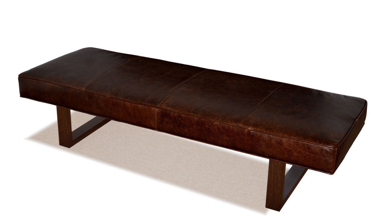 Admirable Genuine Leather Upholstered Bench Ottoman Coffee Table By Machost Co Dining Chair Design Ideas Machostcouk