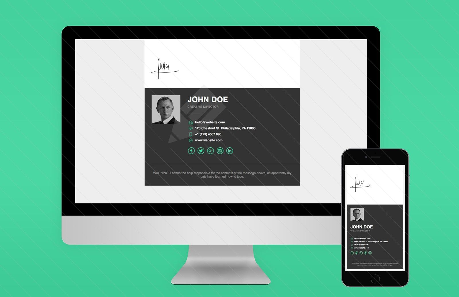 Responsive Email Signature Template | Email signature templates ...