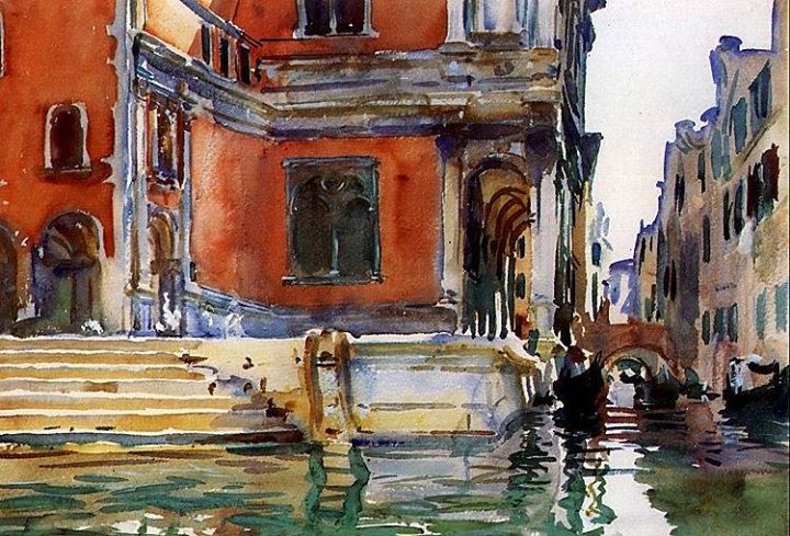 John Singer Sargent (American, Impressionism, 1856–1925): Scuola di San Rocco, 1903. Created in Venice, Italy. Watercolor on paper, 35.6 x 50.8 cm. Private Collection.