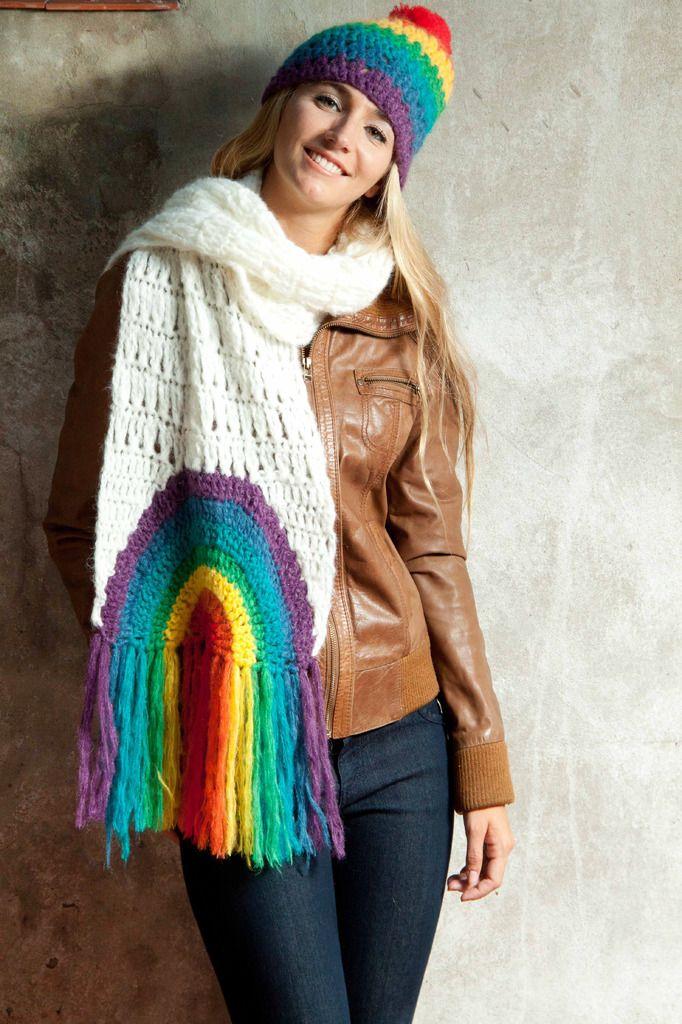 bufanda arcoiris en color gris — de las bolivianas   Gorros Tejidos ...