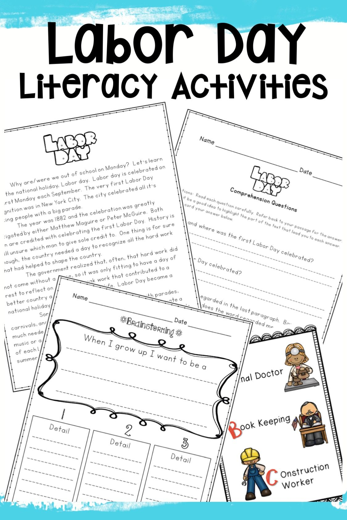 Labor Day Activities Reading Comprehension Math Writing
