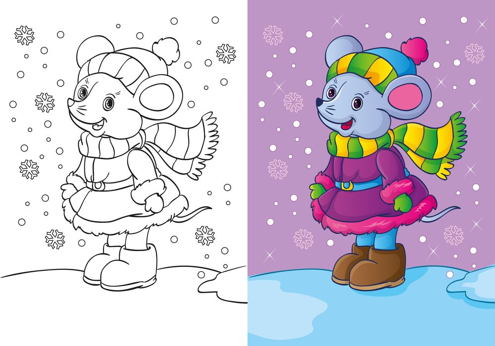 15614 Coloriage A Imprimer Jpg 1000 700 Coloring Books Christmas Illustration Funny Mouse