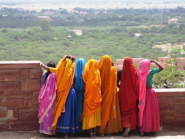 The beautiful women of Rajistan.  Behold those colors and they jingle.