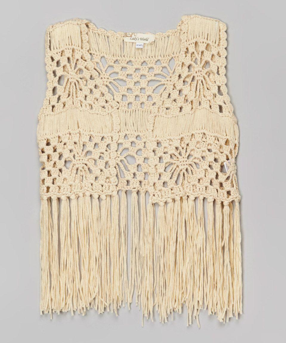 Look at this #zulilyfind! Beige Crochet Fringe Open Vest - Toddler ...