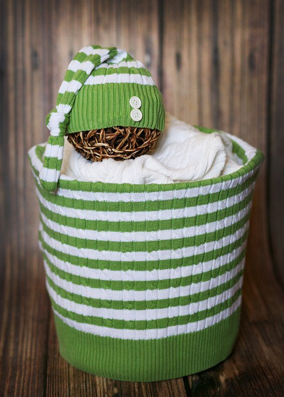 02ac2a7af303 Cute Green and White Stripe Upcycle Sweater by HushaByeCreations ...