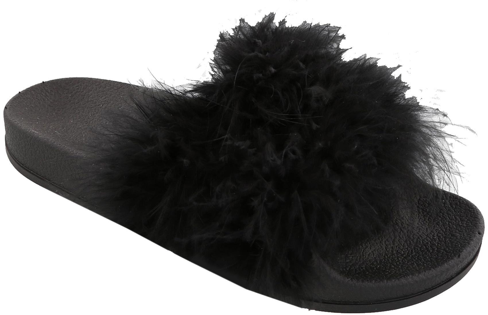 popular brand new york reasonable price Top Moda Women's Marabou Flip Flop Slip On Slide Slipper Sandal ...