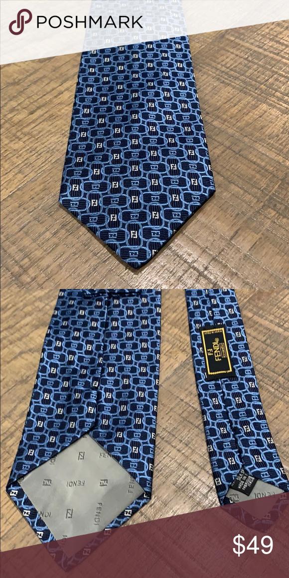 Fendi Tie 100 Silk Blue oval links with navy blue background Fendi Otherbackground