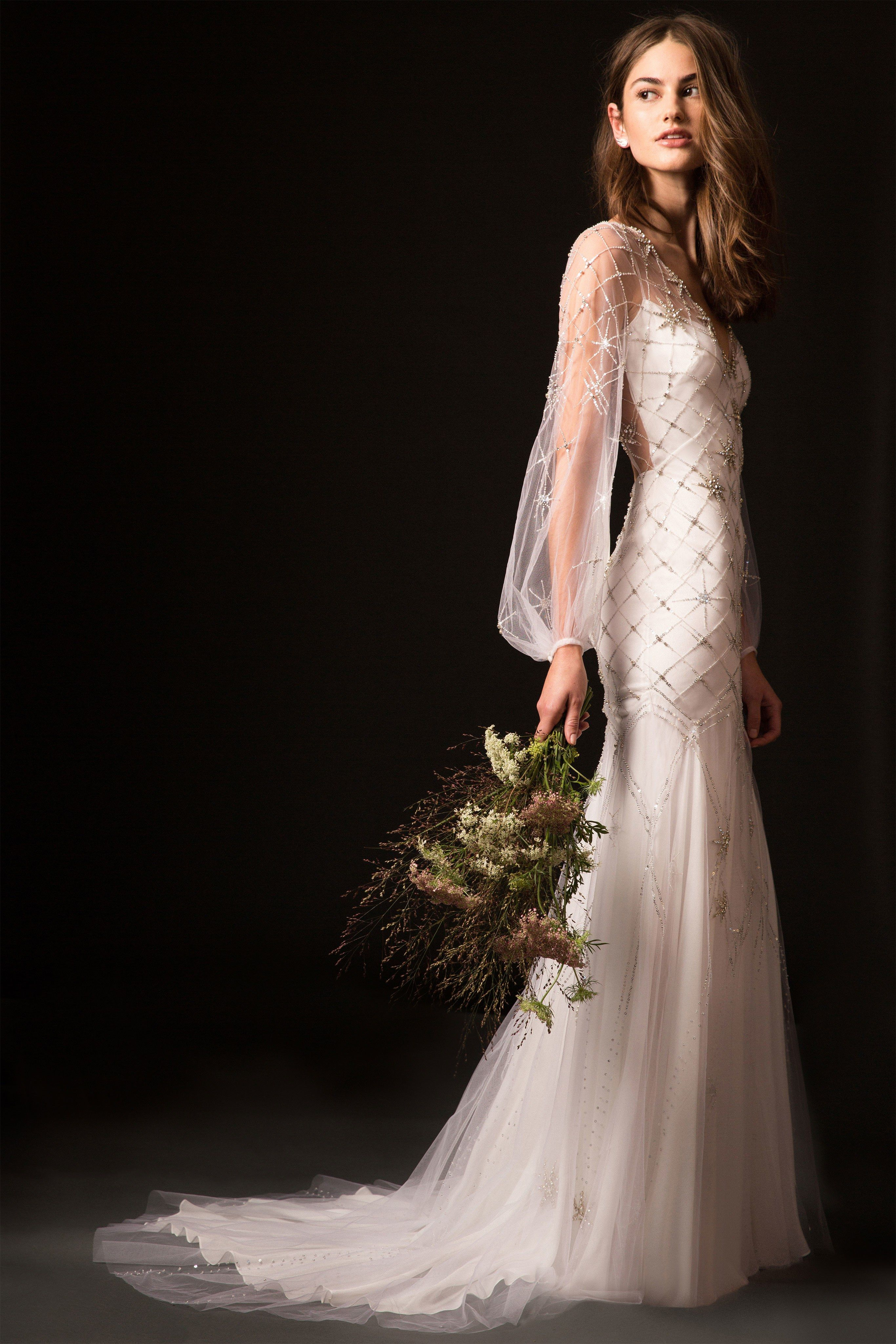 Wedding dress short in front with long train  Temperley London Bridal Fall  Fashion Show  Hazy Whisper