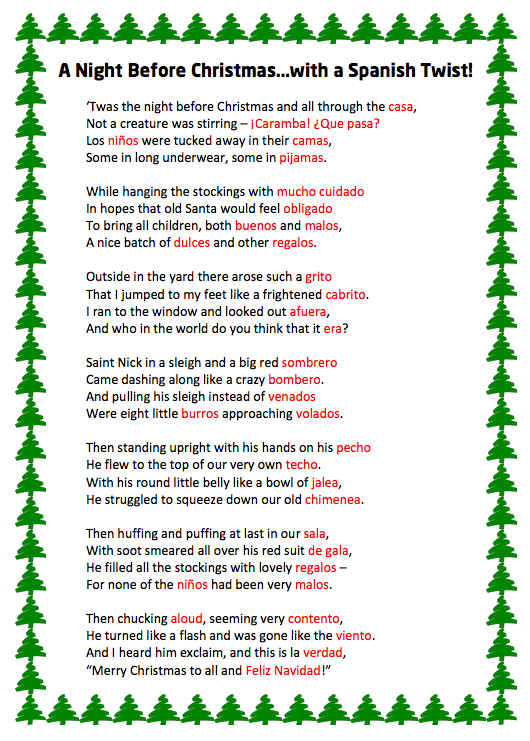 Link Leads To T Was The Night Before Christmas By Christy Taulbee Spanish Teacher Elementary Spanish Spanish Classroom