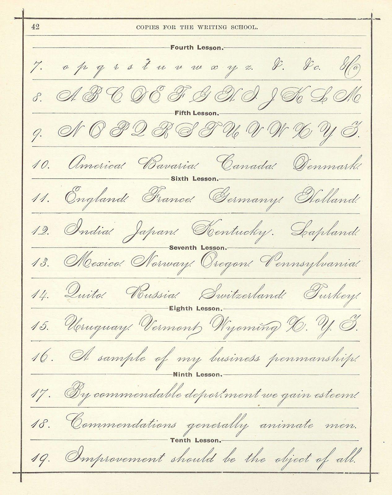 Antique Images Digital Background Vintage Handwriting Clip Art Cursive Alphabet Page
