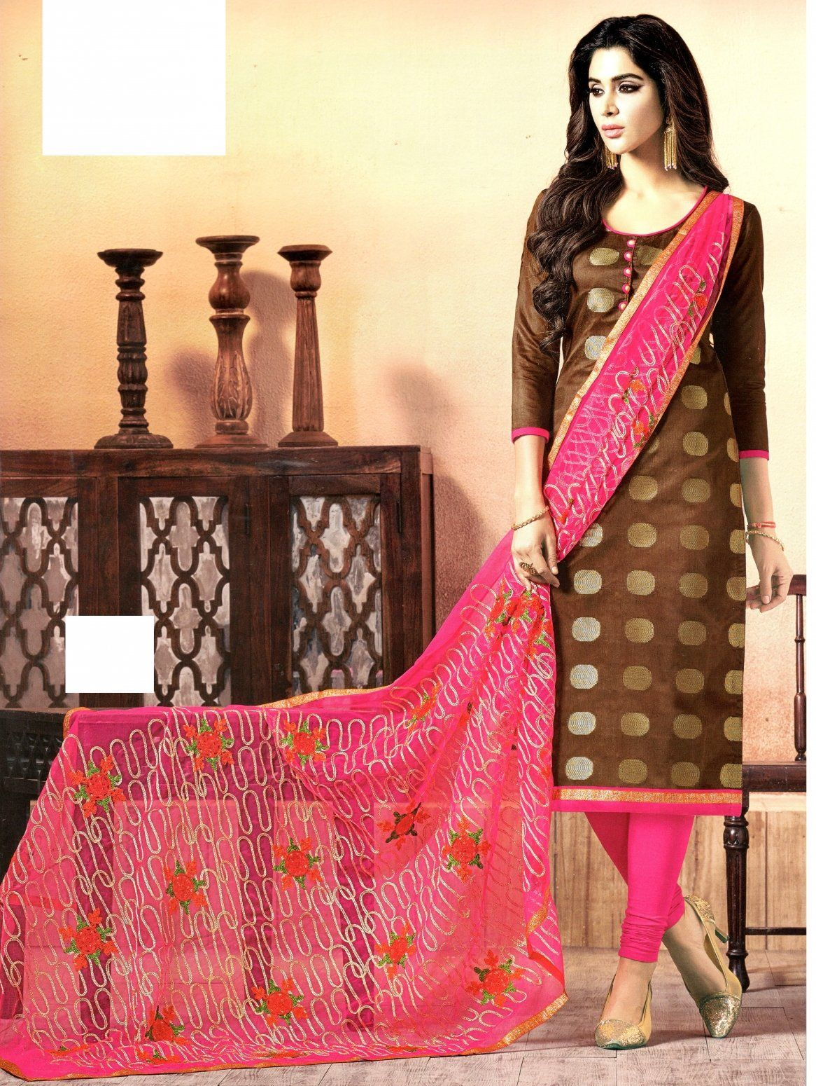 321f60305d Buy Mahati chanderi silk unstitched Dress Material (Brown) Online at Low  prices in India