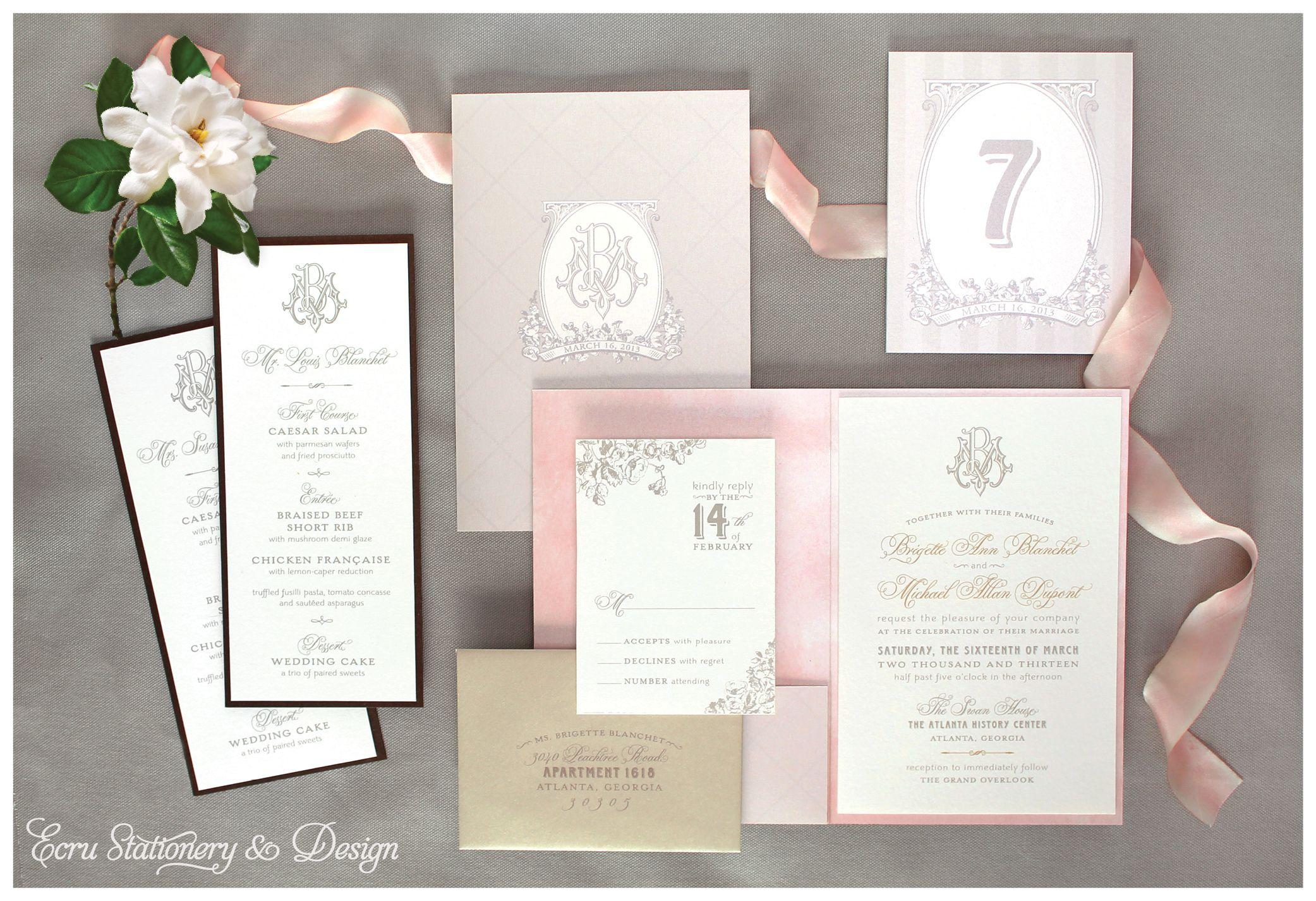 wedding invitations atlanta%0A Vintage Floral Monogram Invitation Suite by ECRU Stationery  u     Design