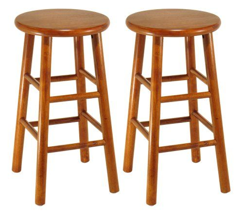Winsome Wood Assembled 24 Inch Cherry Finish Kitchen Stools Set Of 2 For Only 47 00 Wood Bar Stools