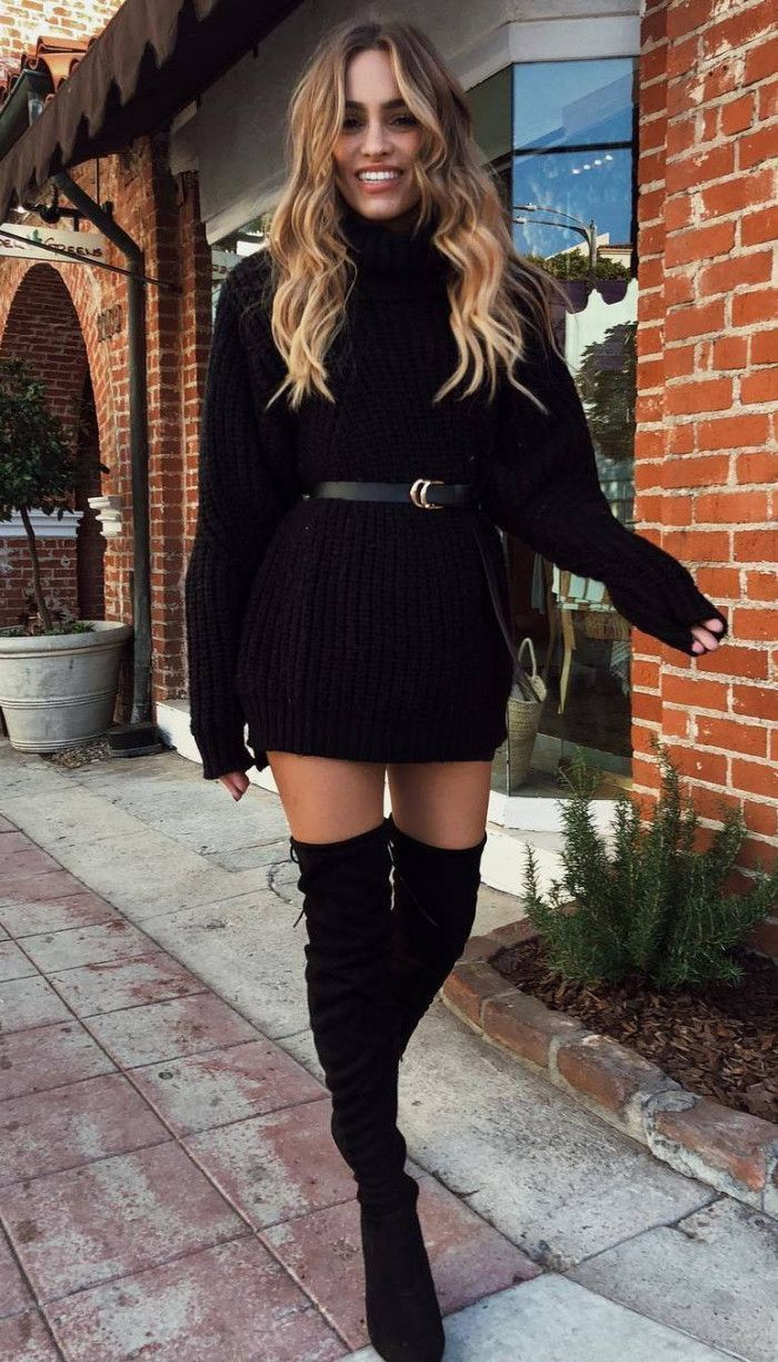 Home #womenschristmasoutfits perfect christmas outfit idea / sweater dress belt over knee boots #christmaspartyoutfits