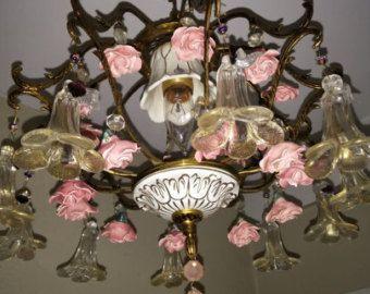 Petite Vintage Capodimonte Porcelain Chandelier Light