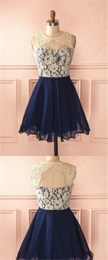 Photo of short blue chiffon sleeveless homecoming dress,applique white lace sweetehart school event dress,LS0499 from Leno Dress
