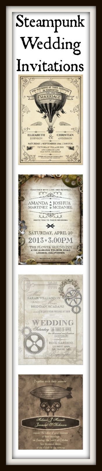 Steampunk Wedding Invitations for a Victorian Steampunk