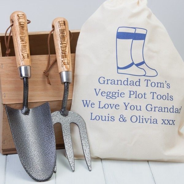 Personalised Garden Trowel And Fork Set With Personalised Bag