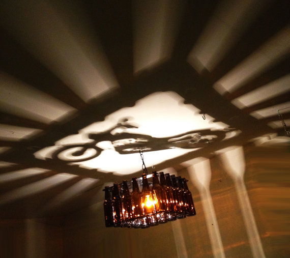 Red Robin Beer Bottle Chandelier: Unique Motorcycle Square Shadow Light Bottle Chandelier