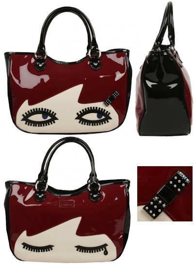 Lulu Guinness Wanda Doll Face Bag This Lulu Guinness Wanda Doll Face Bag is  a small tote bag made from shiny patent leather in black, burgundy and  cream.