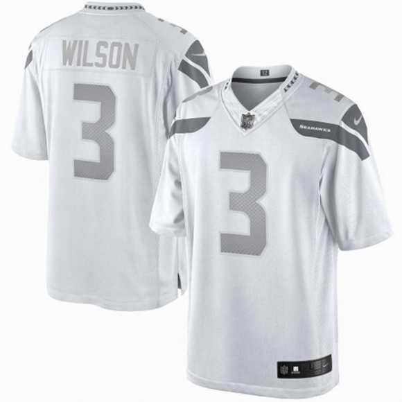 on sale bc8b4 fffca Nike White Platinum Jersey Seattle Seahawks 3 Russell Wilson ...