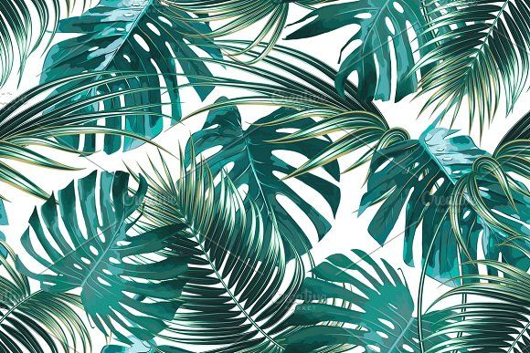 Tropical jungle leaves pattern by Tropicana on ...