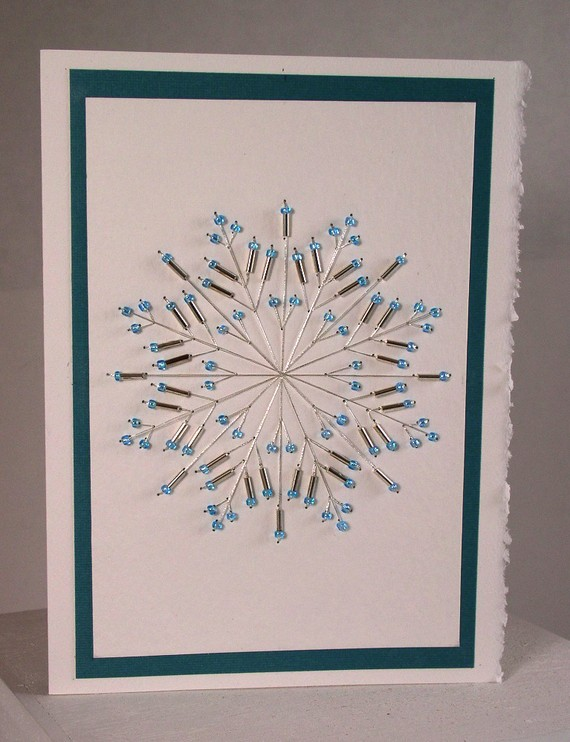Hand stitched beaded snowflake greeting card beaded ideas hand stitched beaded snowflake greeting card by indigolimes 600 m4hsunfo