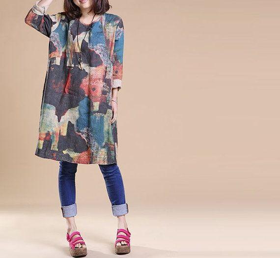 Spring Linen dress linen blouse Cotton dress short sleeve dress large size dress cotton blouse cotton top plus size dress casual loose dress