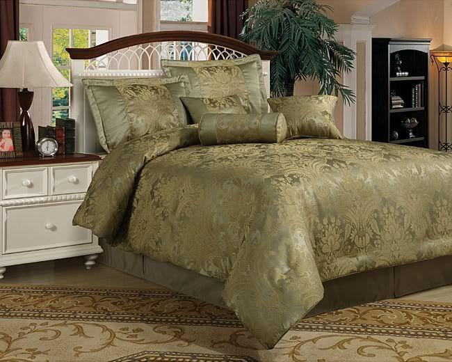 New Queen 7 Piece Comforter Set Olive Sage Green Bed Comforter Sets Comforter Sets Green Bedding