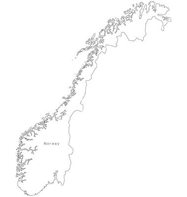Black White Norway Outline Map vector image on VectorStock