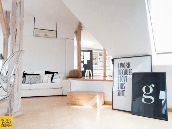 Yellow Accent Lot S Of White Typography Posters Attic Apartment Attic House Attic Renovation
