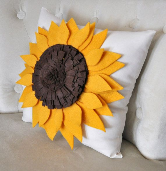 Decorative Pillows With Sunflowers : Sunflower Pillow Sunflower on Cream Pillow 14 x 14 by bedbuggs, $35.00 For the Home ...