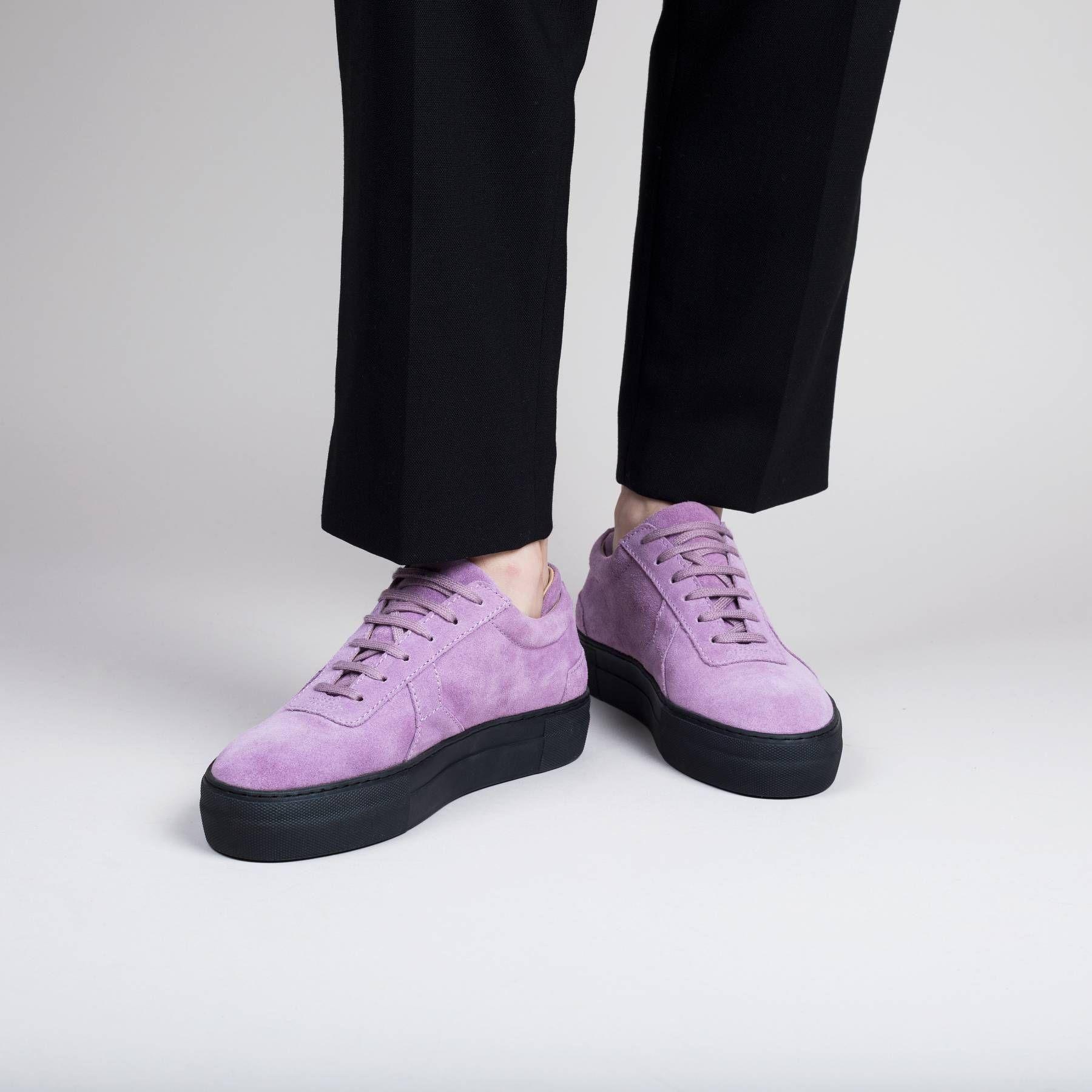 Platform Sneaker Purple Suede Leather