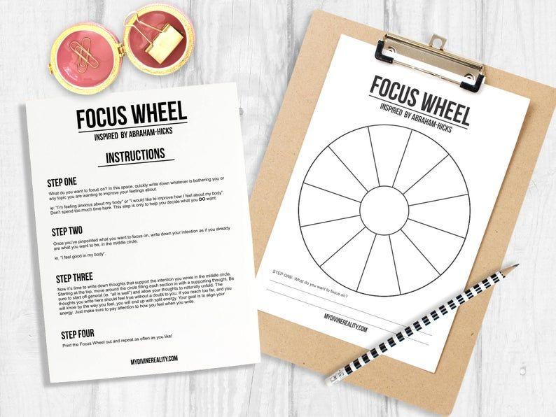 Printable Worksheet Focus Wheel Abraham Hicks Law of