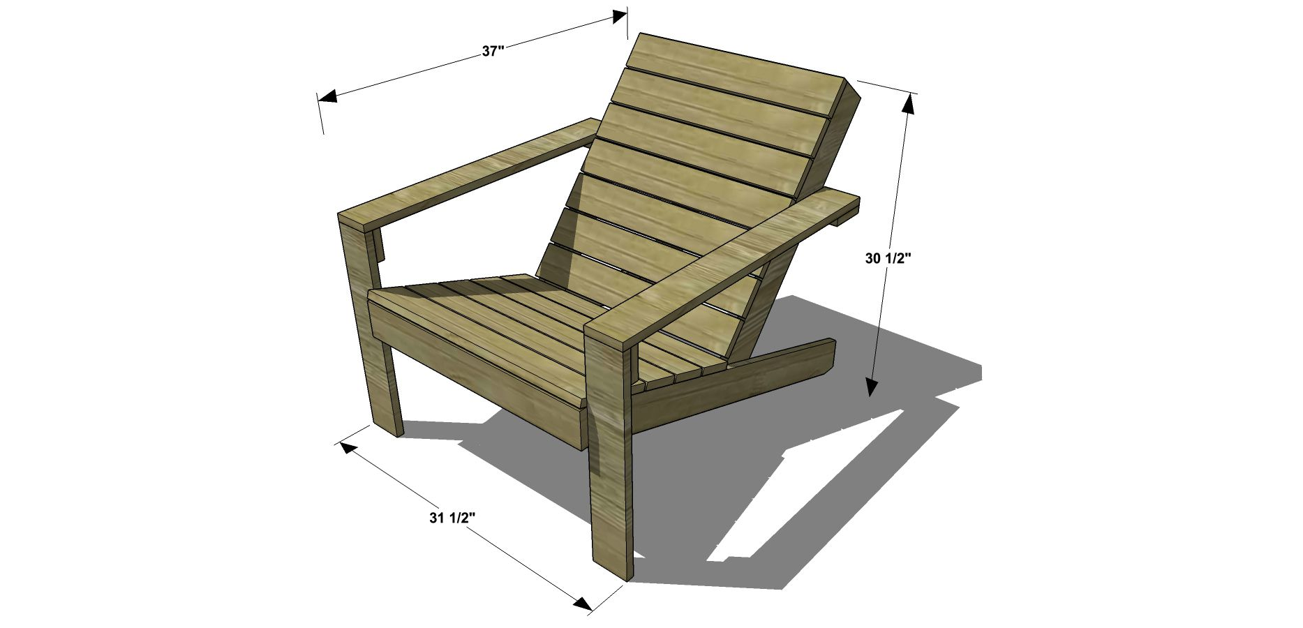 Dimensions For Free DIY Furniture Plans // How To Build An Outdoor Modern Adirondack  Chair