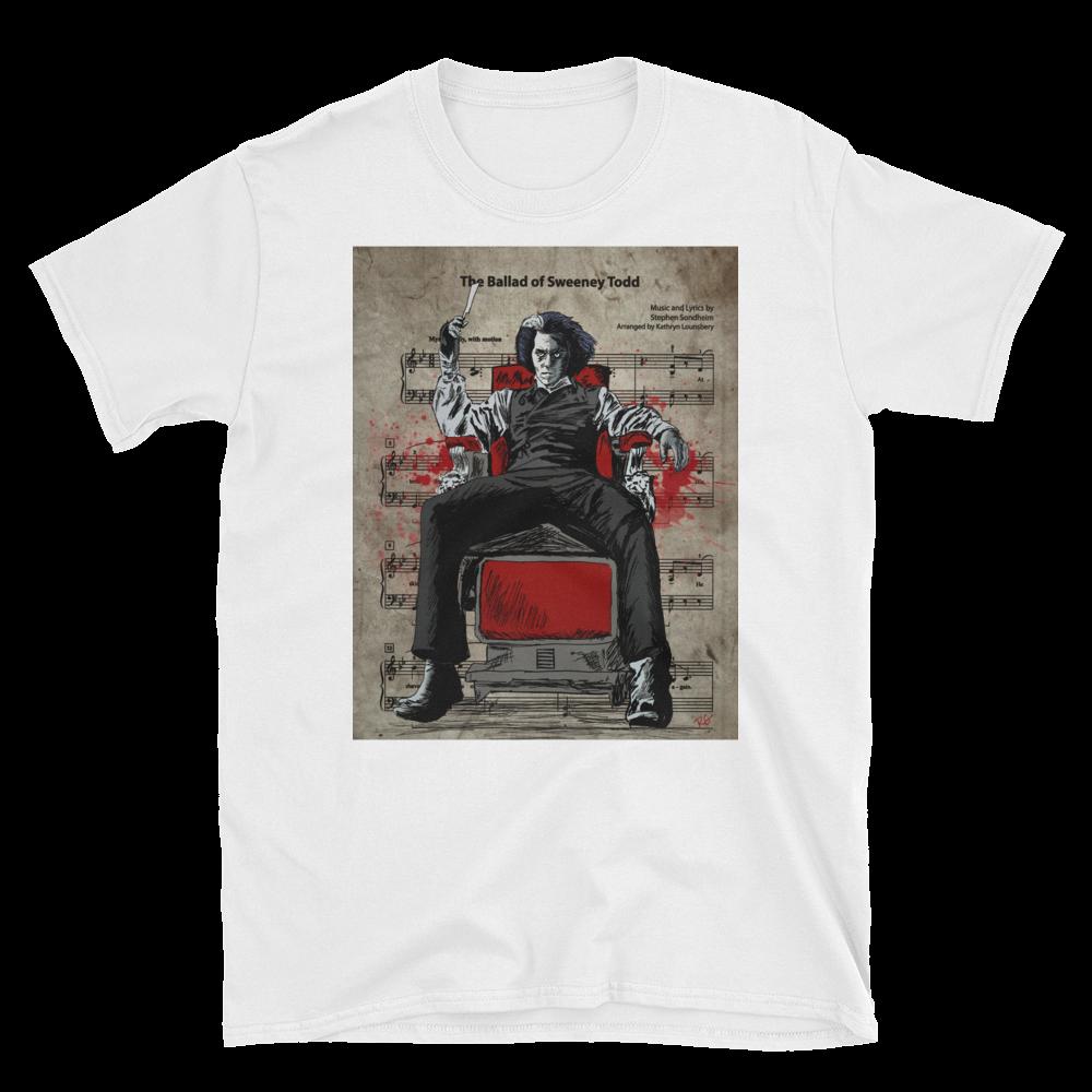 Sweeney Todd Johnny Depp Demon Barber Of Fleet Street Music Sheet Short Sleeve Unisex T Shirt Nerdy Shirts Shirts Sweeney Todd
