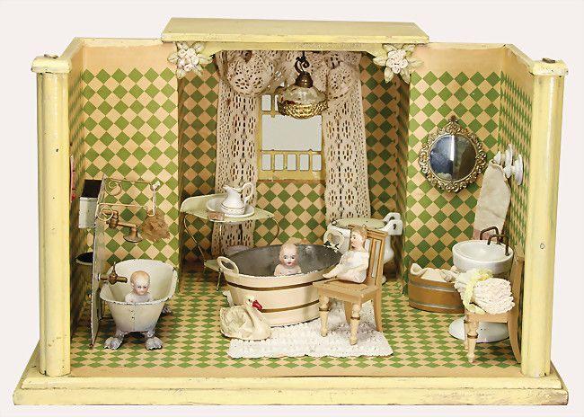 badezimmer holz alte tapete auf wand u boden h 27 cm t 36 cm b 40 cm blechwanne mit. Black Bedroom Furniture Sets. Home Design Ideas