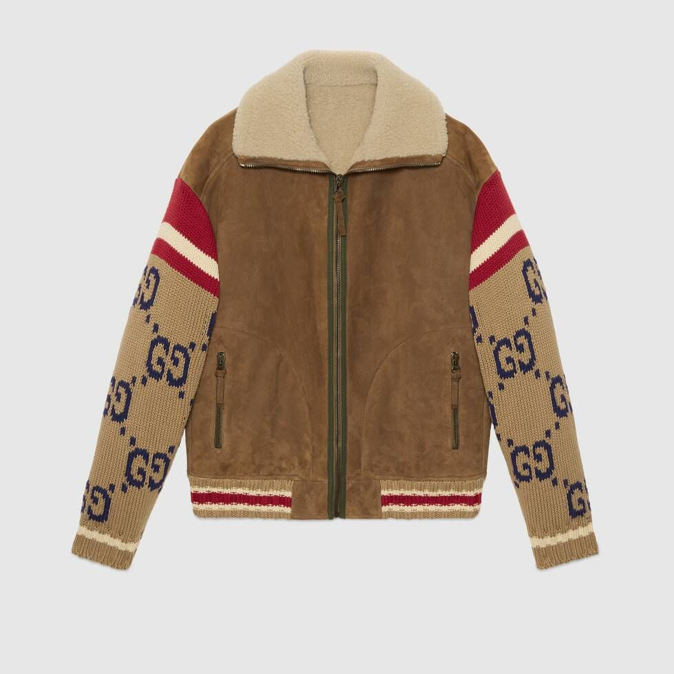 Shop The Suede Jacket With Gg Knit Sleeves In Brown Suede At Gucci Com Enjoy Free Shipping And Complimentary Leather Jacket Men Shearling Jacket Mens Jackets [ 980 x 980 Pixel ]