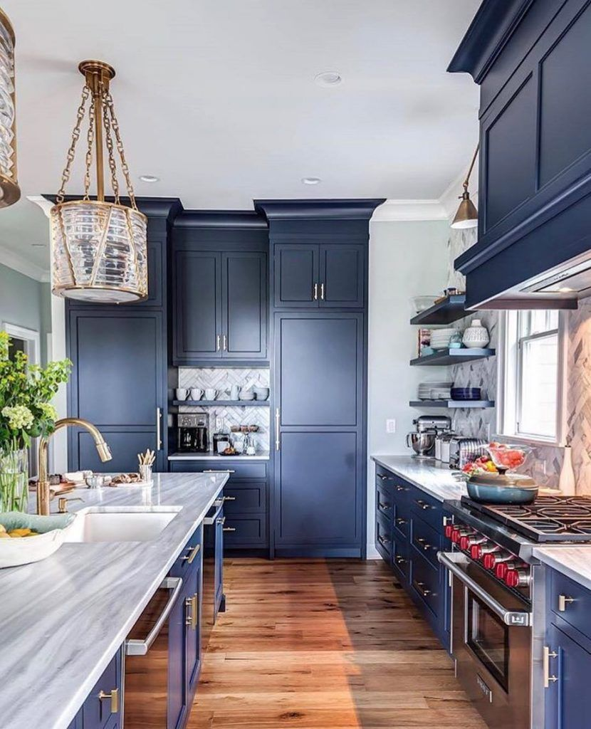 Benjamin Moore Hale Navy Paint Color Ideas Navy Kitchen Cabinets Kitchen Design Home Kitchens