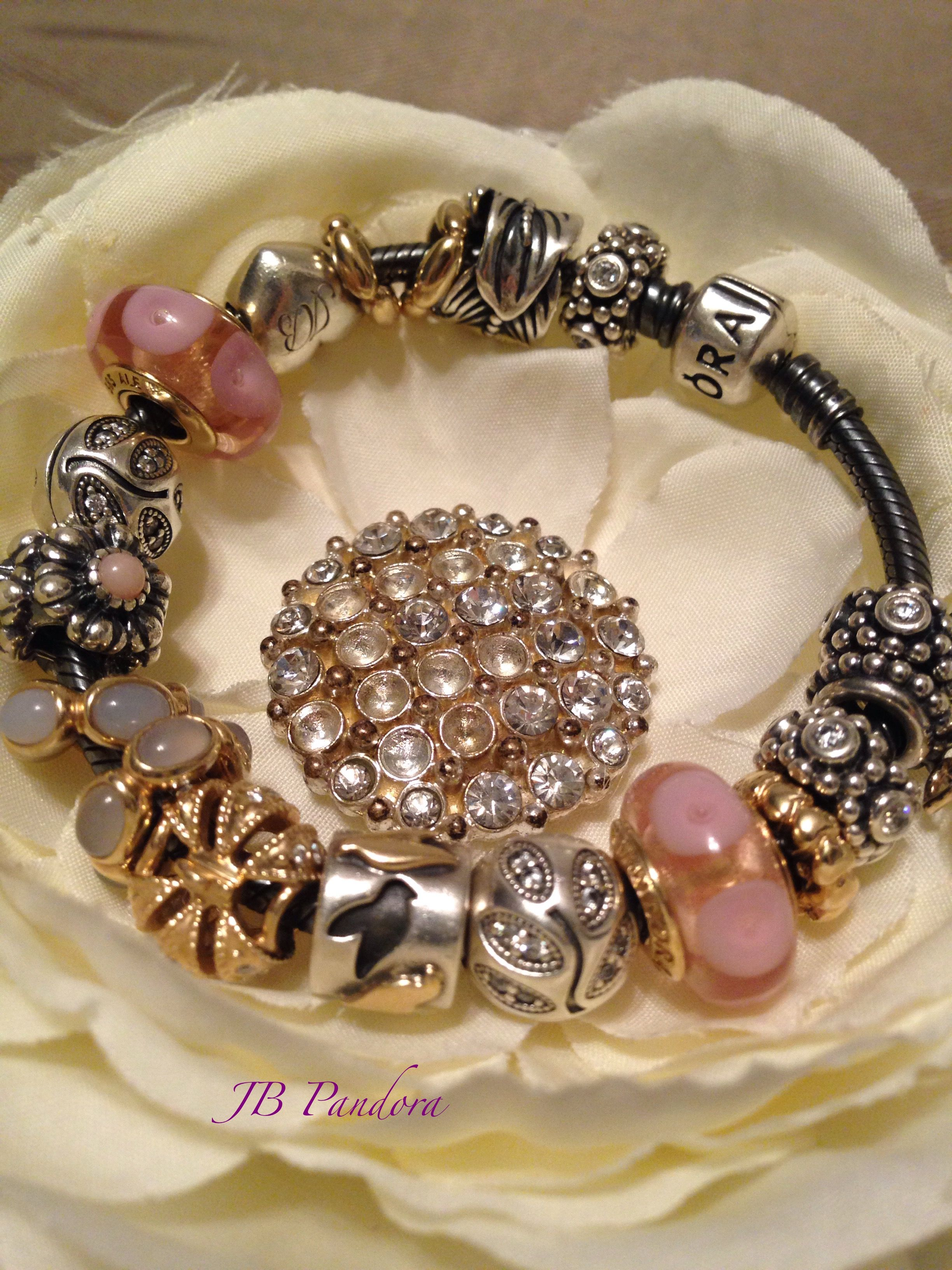 Pandora Oxidized Bracelet Retired Charms: Love Birds, Feather, Pink 14k  Mystic Muranos