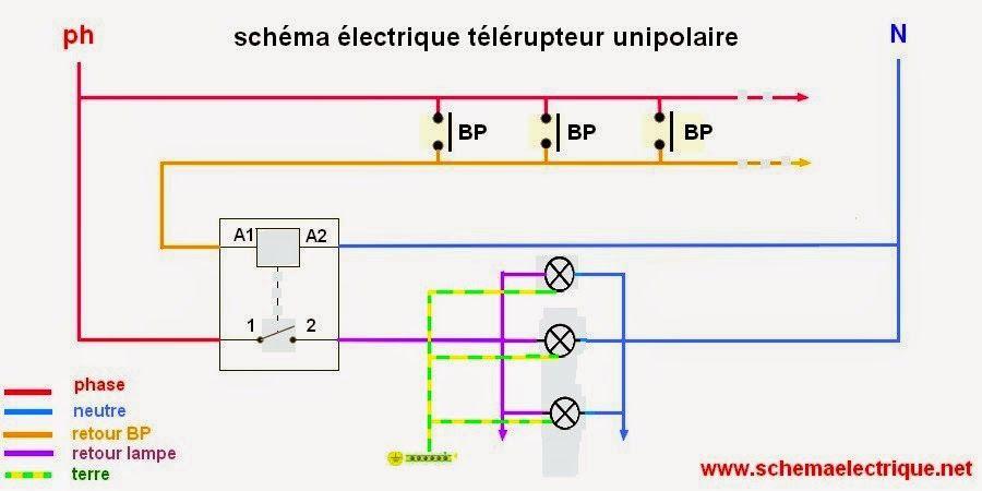 schéma electrique télérupteur unipolaire - branchement du0027un - Plan Electrique Salle De Bain